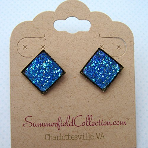 (Blue Geometric Square Shaped Flat Faux Druzy Stud Earrings 12mm Statement Antiqued)