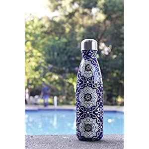 MIRA Vacuum Insulated Travel Water Bottle | Leak-proof Double Walled Stainless Steel Cola Shape Portable Water Bottle | No Sweating, Keeps Your Drink Hot & Cold | 17 Oz (500 ml) | Mandala