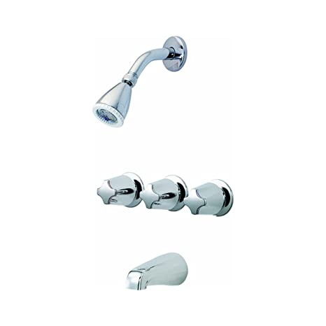 3 Handle Tub And Shower Faucet With Valve.Pfister Bedford 3 Handle Tub Shower Faucet With Metal Verve Knob Handles Polished Chrome