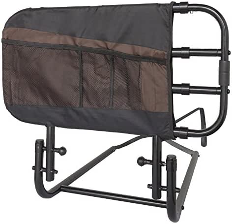Stander EZ Adjust Bed Rail, Adjustable Senior Bedrail and Bedside Standing Assist Grab Bar with Organizer Pouch