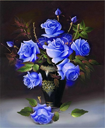 Resin Stone Vase Oil (YEESAM Art New 5D Diamond Painting Kit - Rose - DIY Crystals Diamond Rhinestone Painting Pasted Paint by Number Kits Cross Stitch Embroidery (Blue))