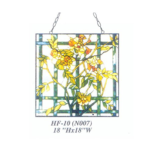 (HDO Glass Panels HF-10(N007) Rural Vintage Tiffany Style Stained Church Art Glass Decorative Yellow Winter Jasmine Square Window Hanging Glass Panel Suncatcher, 18
