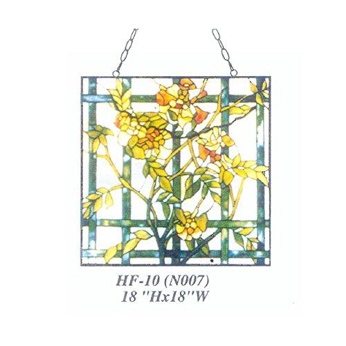 HDO Glass Panels HF-10(N007) Rural Vintage Tiffany Style Stained Church Art Glass Decorative Yellow Winter Jasmine Square Window Hanging Glass Panel Suncatcher, 18