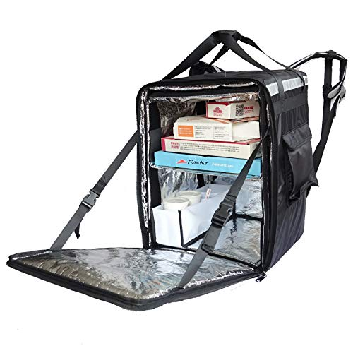 PK-96Z: Insulated Food Delivery Bag, Thermal Pizza Delivery Backpack, Keep Hot, Extra Large Pizza and Food Take Out Bag, Side Loading, 2-Way Zipper Closure, 16