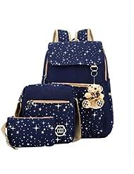 AM SeaBlue Girl Backpack Canvas Student Bookbag Girls School Backpack Set 3 Pcs