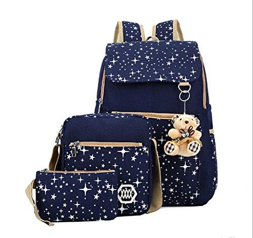 AM SeaBlue Girl Lightweight Backpack Canvas Student Bookbag Girls School Backpack Set 3 Pcs (Girl Canvas Bag)