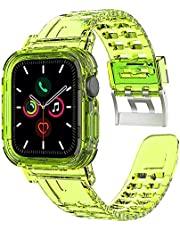 Transparent Silicone Neon Watch Band & Case (42/44 mm) Fluorescent Shockproof For Apple Watch Series 6/5/4/3/2/1/SE - Neon Yellow