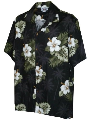 Tropical Floral Hibiscus and Palm Hawaiian Shirt (XL, ()