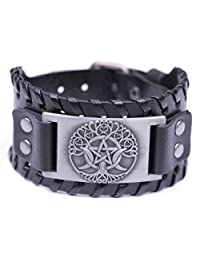 VASSAGO Religious Pagan Triple Moon Goddess Pentagram Tree of Life Metal Cuff Leather Bracelet