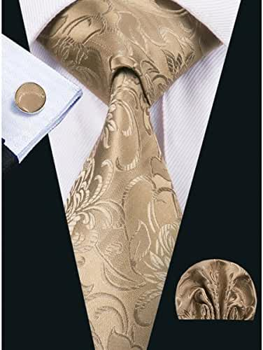 Hi-Tie Classic Flower Woven Tie Set for Men