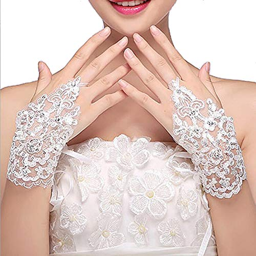 Campsis Women's Rhinestone Lace Bridal Gloves Flower Bride Wedding Gloves White Bridal Accessory Porm Tulle Glove for Women and Girls