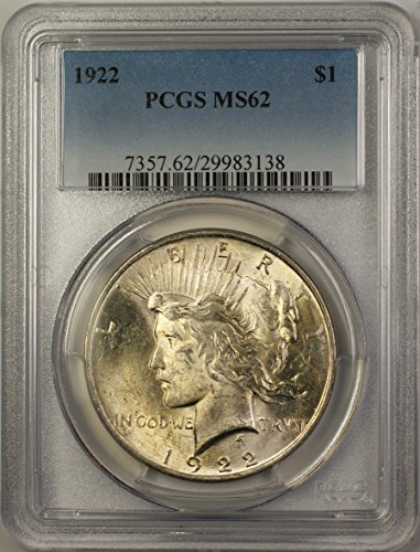 1922 Peace Silver Dollar Coin (ABR12-B) $1 MS-62 PCGS