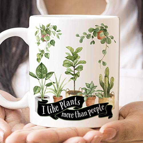 Ceramics Fig (Funny I Like Plants More than People Coffee Mug | House Plant Lover Cup | Microwave and Dishwasher Safe Ceramic | Coating Made in USA | Fiddle Leaf Fig Tree Gift)