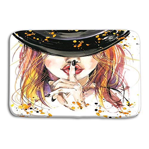 grr4ssd456 Kitchen Floor Bath Entrance Door Mats Rug Girl Witches Halloween Party Poster Holiday Symbols Holiday Text Gorgeous Non Slip Bathroom Mats 23.6