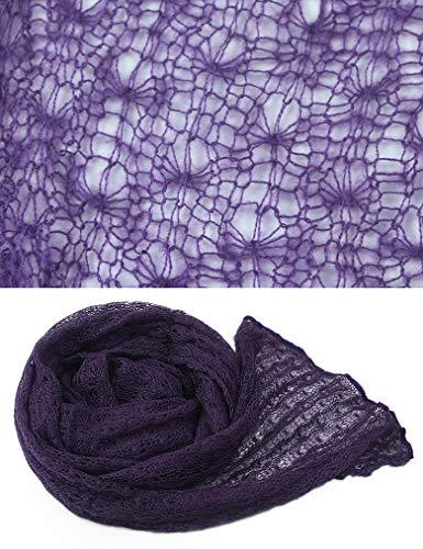 - infantacce Newborn Photography Props - Long Knit Mohair Stretchy Wrap Blanket Soft Wraps for Baby Blankets Wrap for Photo Shoot (Deep Purple)