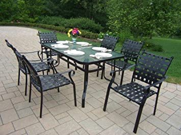 Oakland Living Web 7 Piece Dining Set With 60 By 36 Inch Table