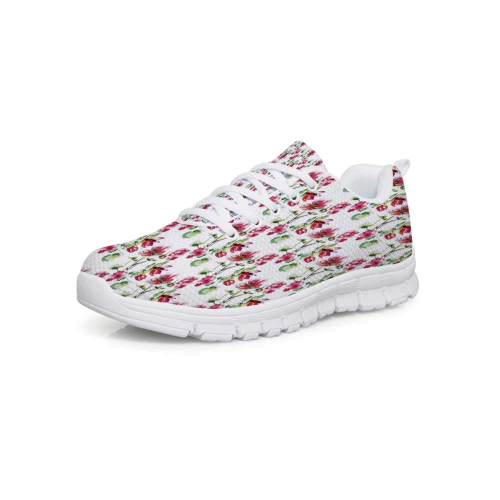 YOLIYANA Flower Lightweight Walking ShoesTribal Eastern Oriental Botanic Flower Buds and Floral with Leaves Natural Print Sneakers for Girls Womens,US 5