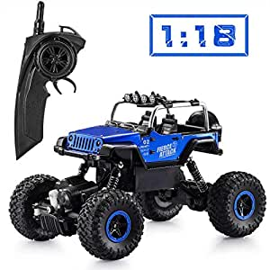 Apsung RC Cars,Wireless Remote Control Off Road RC Toy Car,1/18 Scale High Speed RC Trucks,4 Wheel Drive Jeep,Toys for Kids,Best  Boys and Girls (2 Rechargeable Batteries Included)