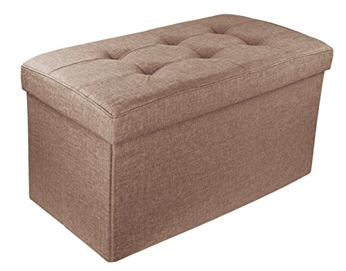 Upholstered Folding Storage Ottoman with Padded Seat, 30