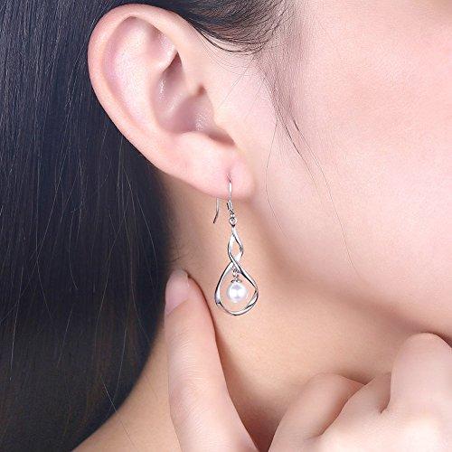 Dainty Pearl Infinity 925 Sterling Silver Dangle Earrings for Women Girls Wedding Fashion Bridesmaid Dangling Hypoallergenic (silver) by IminiJewelry (Image #5)