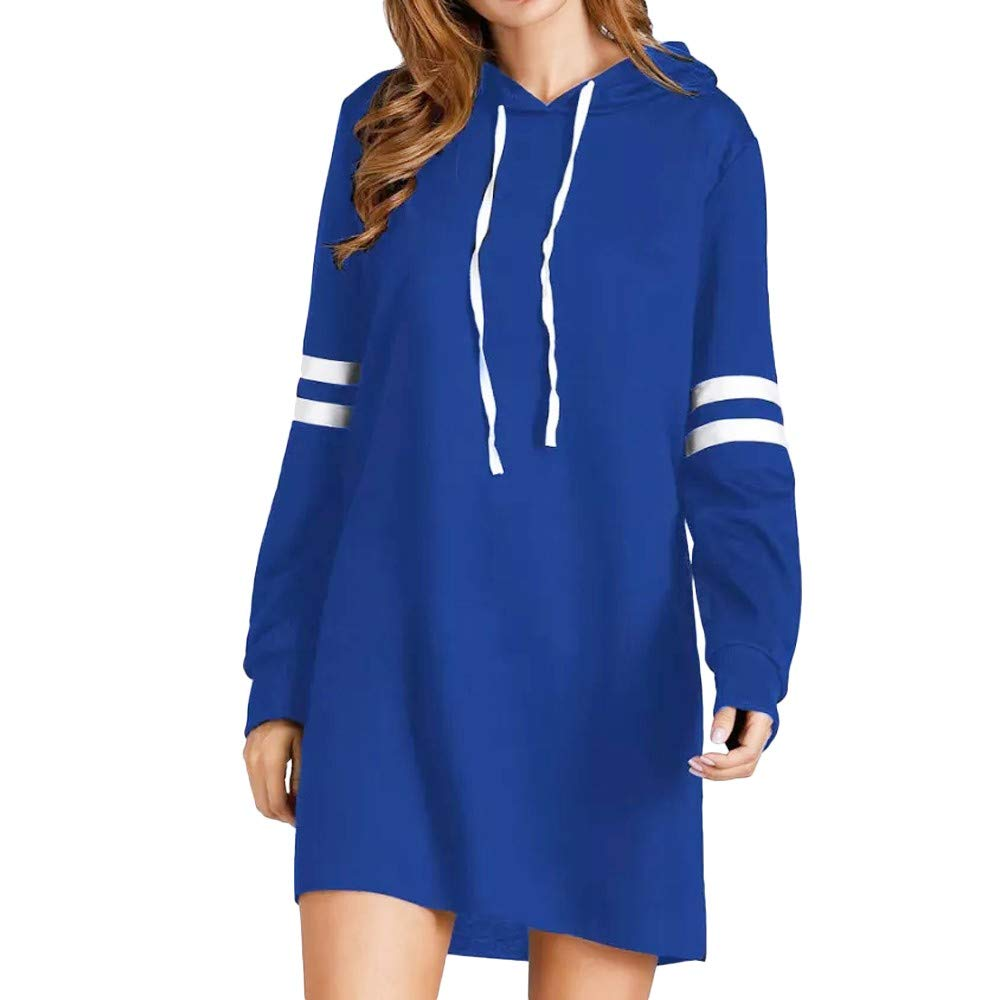 MEIbax Damen Langarm Hoodie langes Sweatshirt Pullover Basic mit Kapuzen Tunika