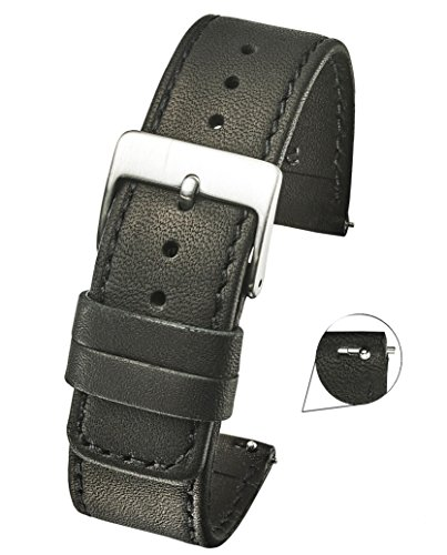 (Slim Soft Stitched Genuine Leather Watch Band with Quick Release Spring Bars - Black - 18)