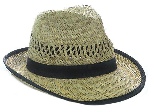 Fourever Funky Black Banded Raffia Fashion Fedora Straw Hat w/Trim ()