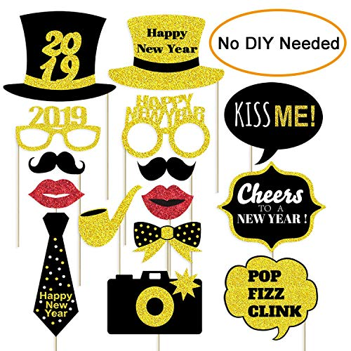 Happy New Year 2019 Photo Booth Props - New Years Eve Party Supplies 2019 - Large Size, NO DIY Needed (Gold Glitter)