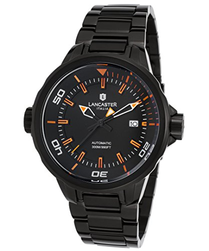 Lancaster Italy Ola1088mb-Bk-Ar-Nr Men's Space Shuttle Automatic Black Ip Ss & Dial Orange Accents Watch