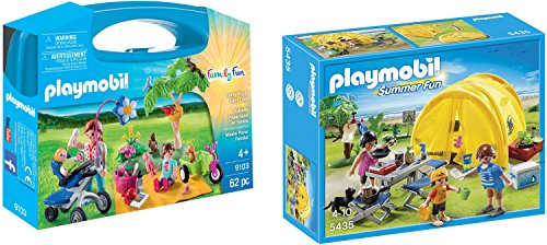 Playmobil Family Picnic Carry Case Bundled with Family Camping Trip Playset (Camping Playmobil)