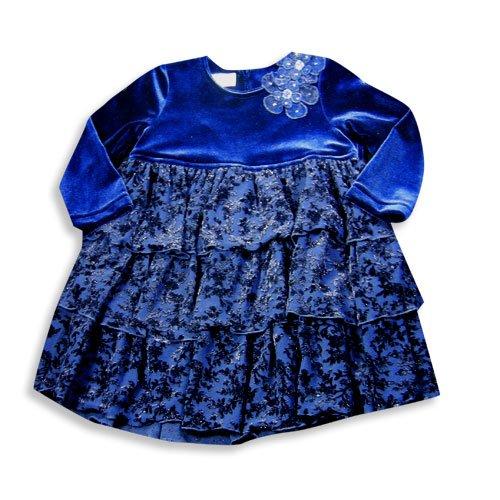 Velour Dress Jumper (Jumpers - Little Girls Long Sleeve Velour Dress, Navy 13658-2T)