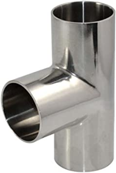 "38MM 1-1//2/"" 3 Way Tee Sanitary Ferrule Pipe Fitting Stainless Steel SS316 1.5/"""
