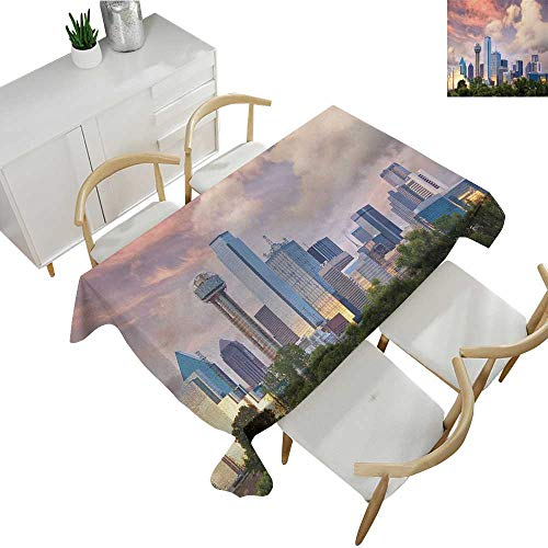 United States,Party Table Cloth Dallas City Skyline at Sunset Clouds Texas Highrise Skyscrapers Landmark Fabric Print Tablecloth Multicolor 60