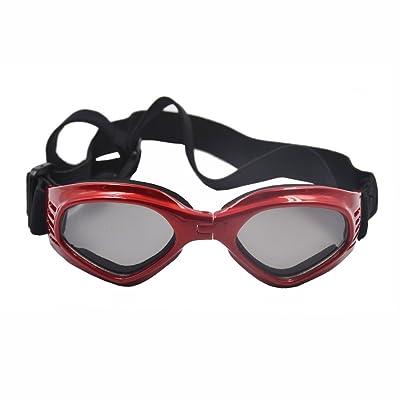 Pet Glasses Dog Sunglasses Foldable Goggles Windproof Rainproof Anti Ultraviolet Heart Shaped Glasses Portable Sunglasses(Red)