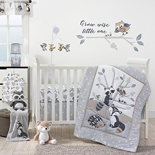 Bedtime Originals Little Rascals Forest Animals 3 Piece Crib Bedding Set, Gray/White (Quilt Boy Baby)