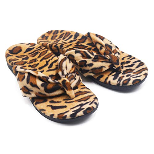 V.Step Cozy Velour Flip Flops with Arch Support Orthotic Sandals for Flat Feet Plantar Fasciitis, Leopard Print, Women 12/Men 11