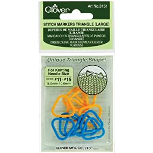 Clover Stitch Markers, Triangle, 12-Pieces Large, Yellow/Blue