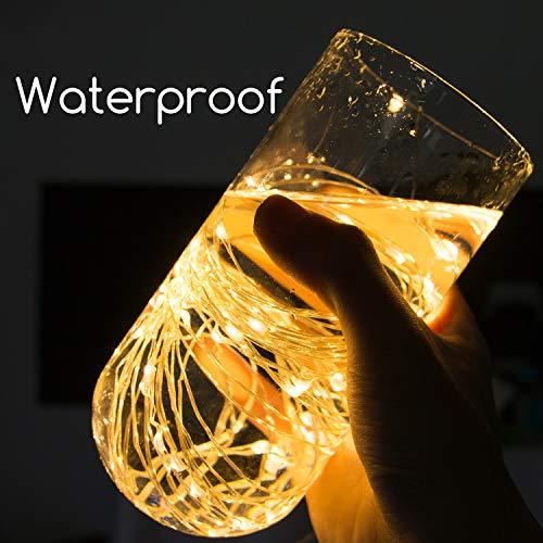 Diseño mejorado con temporizador Conjunto de 5 Micro LED 20 Luces blancas cálidas Funciona con batería en un cable ultra fino de color plateado de 7 pies de largo, 6 horas encendido /18 horas de descanso