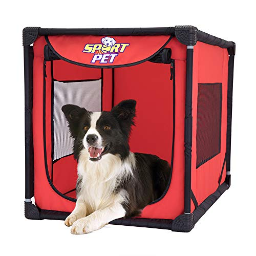 SportPet Designs Large Portable Kennel- Indoor & Outdoor Crate for Pets
