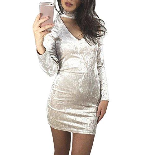 La Cabina Femme Sexy Mini Robe Crayon+ Manche Longue Confortable pour Cocktail Soiree Party