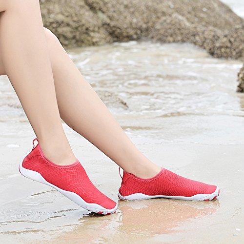 roja buceo de Lucdespo rastreo calzado acuático zapatos natación Rosa antideslizante piel Esquí submarinismo desnuda zapatos zapatos Bqp4Z