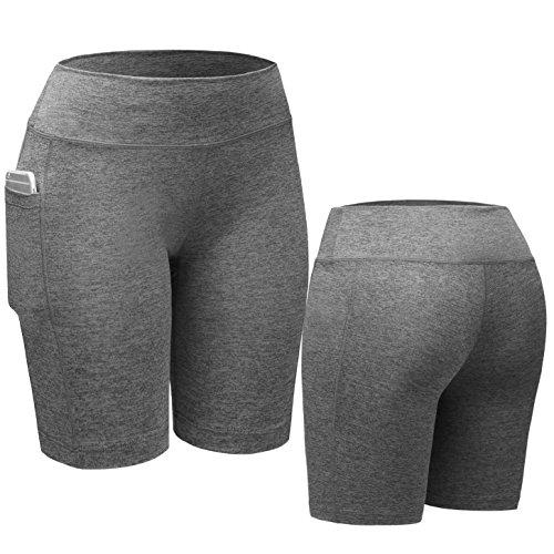 Neleus - Pantalón corto deportivo - para mujer 9005# 3 Pack:Black,Grey,Red