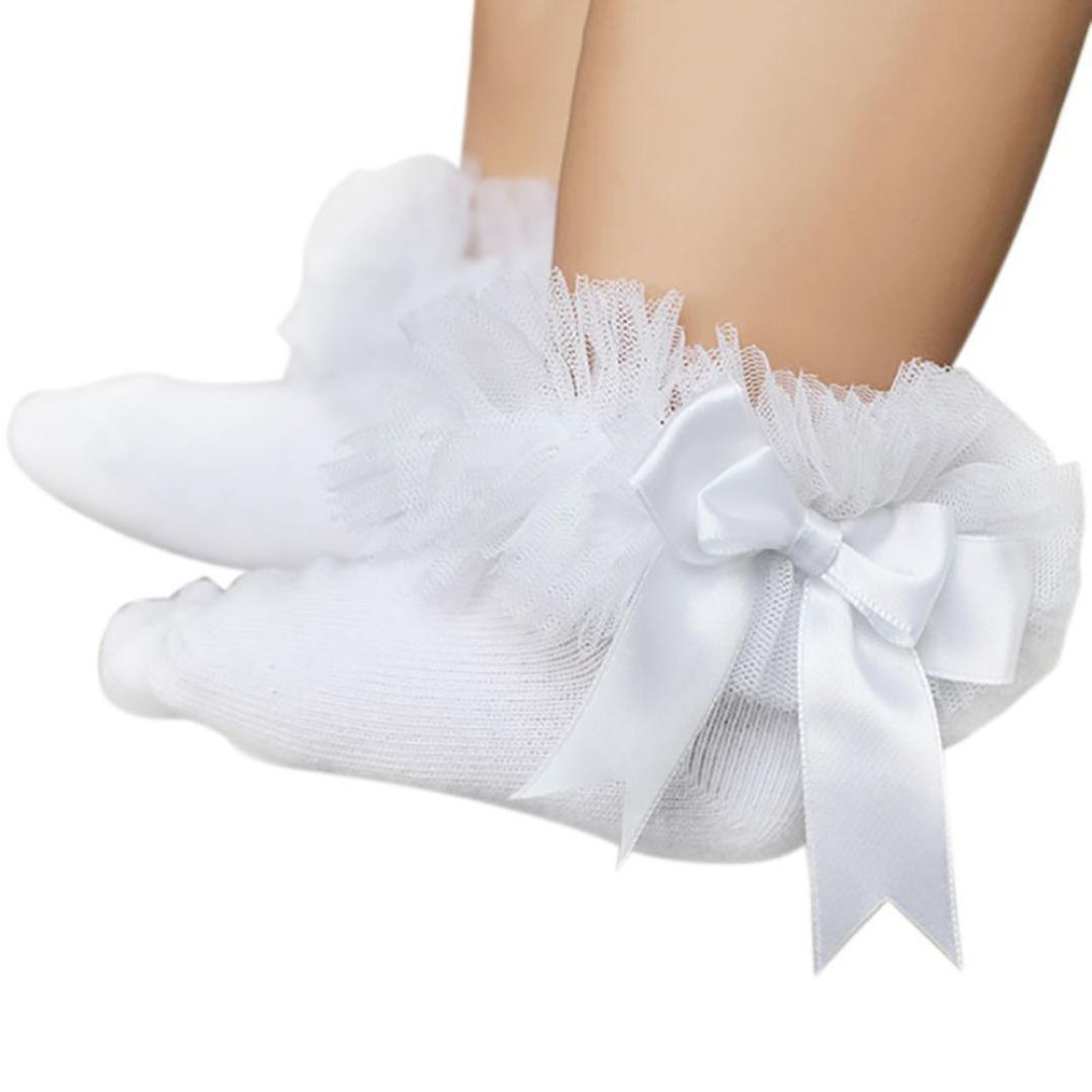 XUANOU Baby Kids Girls Cute Princess Bowknot Sock Lace Ruffle Frilly Trim Ankle Socks