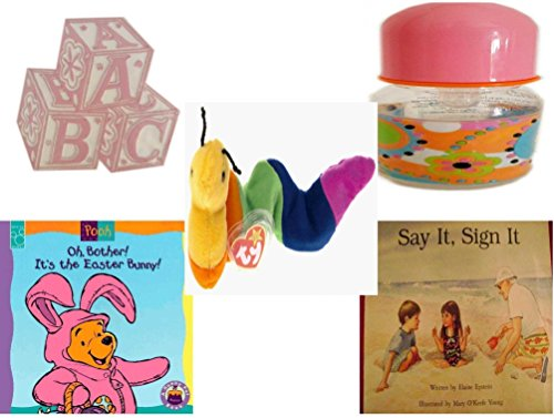 Children's Gift Bundle - Ages 0-2 [5 Piece] - ABC Baby Blocks Cake Topper Pink Girl - ID Gear Baby Bottle Pucci Look 4 oz - TY Beanie Baby INCH the Inchworm - Oh, Bother. It's the Easter Bunny. Boar - Pucci 2 Piece