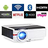 CAIWEI Bluetooth Projector Android6.0, 4200 Lumens Wireless Home Theater Cinema Support Full HD 1080P Happycast Airply DLNA HDMI USB VGA Port for iPhone iPad PC Smartphone, Video Beamer with Speaker