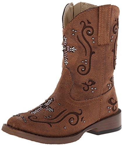 Roper Faith Square Toe Bling Cowgirl Boot (Toddler/Little Kid), Brown, 13 M US Little Kid ()