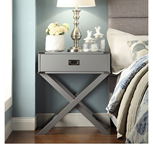 ModHaus Living Modern Wood Accent X Base Nightstand Campaign Sofa Table Rectangle Shaped with Storage Drawer  Includes Pen Gray