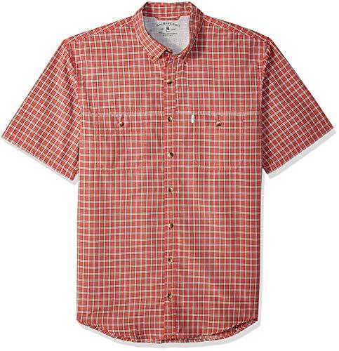 (G.H. Bass & Co. Men's Tall Explorer Short Sleeve Check Shirt, Cranberry, 3X-Large Big)