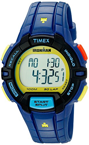 Sports Watch 100m (Timex Men's Ironman Rugged | 30-Lap Memory Blue Strap Alarm | Sport TW5M02400)