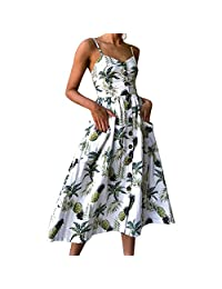 Women Floral Bohemian Spaghetti Strap Button Down Swing Midi Dress with Pockets